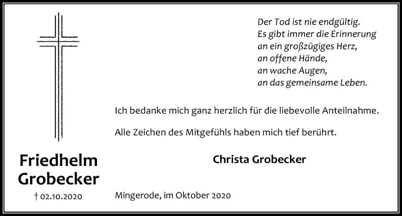 Traueranzeige für Friedhelm Grobecker vom 24.10.2020 aus Eichsfelder Tageblatt