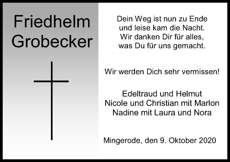 Traueranzeige für Friedhelm Grobecker vom 09.10.2020 aus Eichsfelder Tageblatt