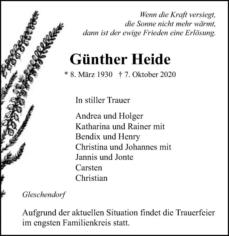 Traueranzeige für Günther Heide vom 11.10.2020 aus Lübecker Nachrichten
