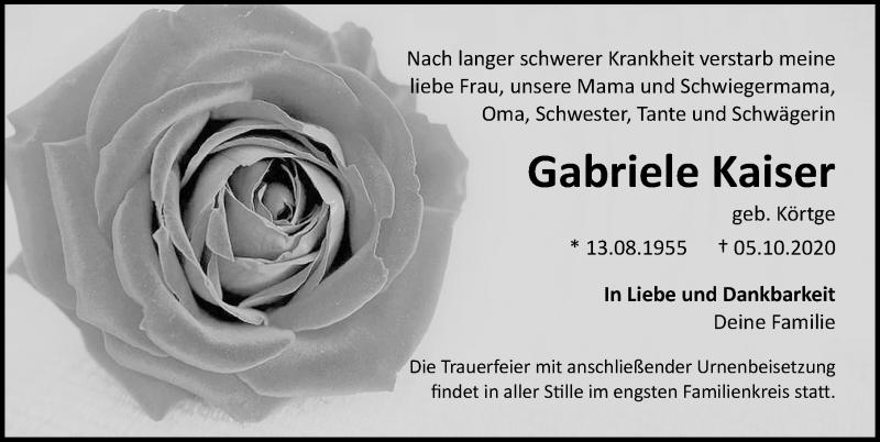 Traueranzeige für Gabriele Kaiser vom 10.10.2020 aus Ostsee-Zeitung GmbH