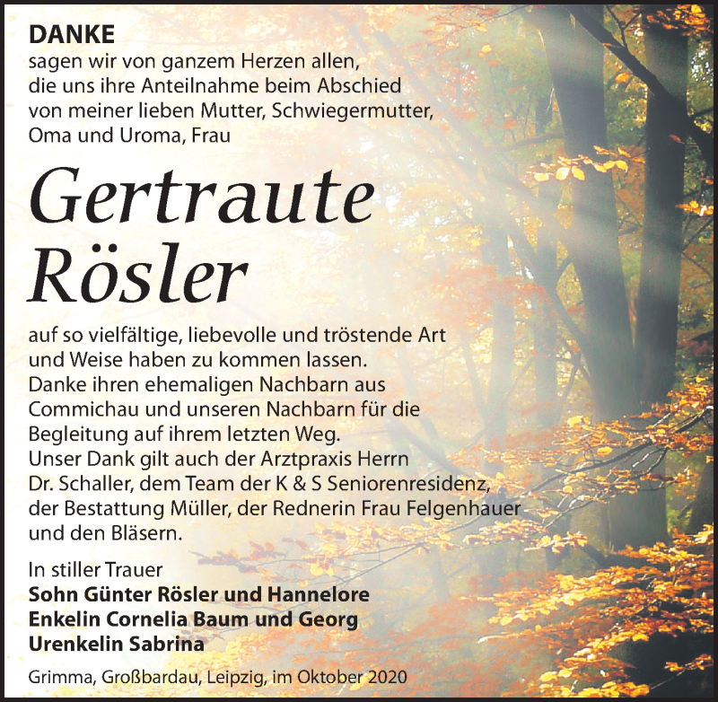 Traueranzeige für Gertraute Rösler vom 02.10.2020 aus Leipziger Volkszeitung