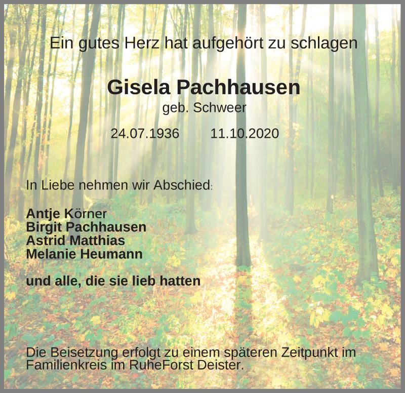 Traueranzeige für Gisela Pachhtusen vom 17.10.2020 aus Schaumburger Nachrichten