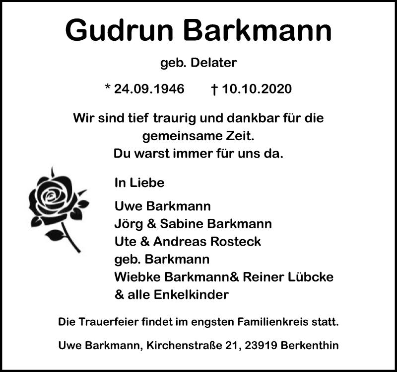Traueranzeige für Gudrun Barkmann vom 13.10.2020 aus Lübecker Nachrichten