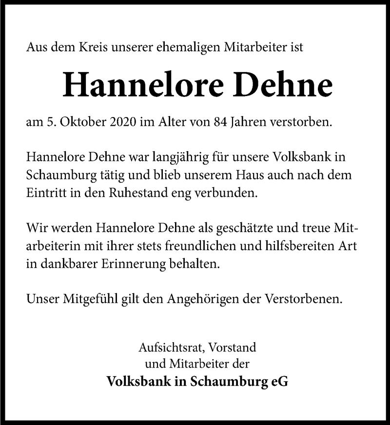 Traueranzeige für Hannelore Dehne vom 17.10.2020 aus Schaumburger Nachrichten