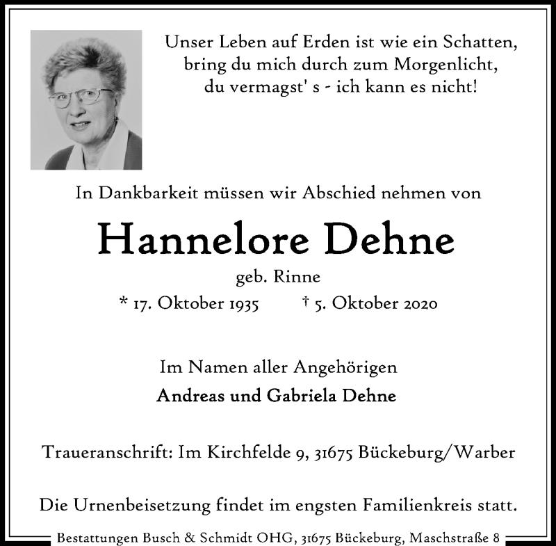 Traueranzeige für Hannelore Dehne vom 10.10.2020 aus Schaumburger Nachrichten