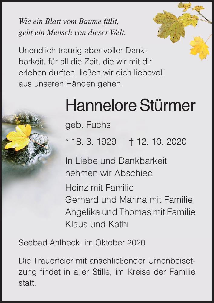 Traueranzeige für Hannelore Stürmer vom 17.10.2020 aus Ostsee-Zeitung GmbH