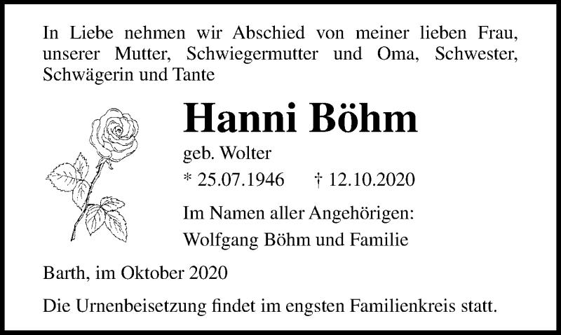 Traueranzeige für Hanni Böhm vom 17.10.2020 aus Ostsee-Zeitung GmbH