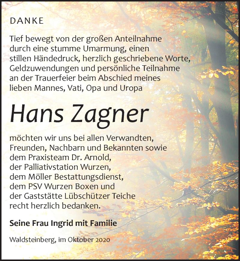Traueranzeige für Hans Zagner vom 10.10.2020 aus Leipziger Volkszeitung