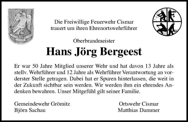 Traueranzeige für Hans Jörg Bergeest vom 13.10.2020 aus Lübecker Nachrichten