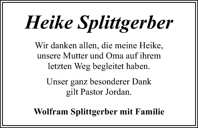 Traueranzeige für Heike Splittgerber vom 24.10.2020 aus Kieler Nachrichten