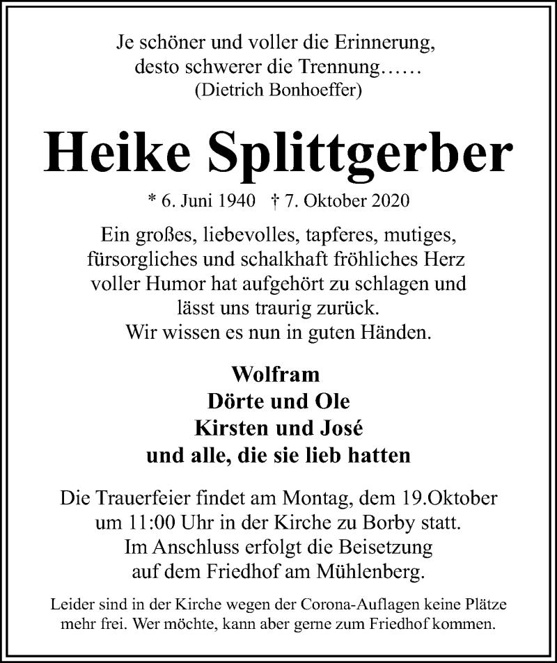 Traueranzeige für Heike Splittgerber vom 15.10.2020 aus Kieler Nachrichten