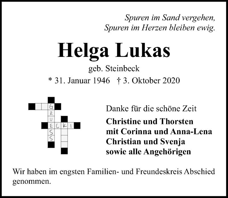 Traueranzeige für Helga Lukas vom 17.10.2020 aus Kieler Nachrichten