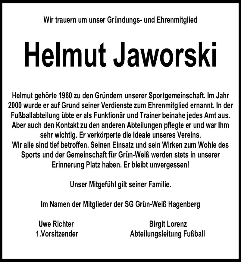 Traueranzeige für Helmut Jaworski vom 17.10.2020 aus Göttinger Tageblatt