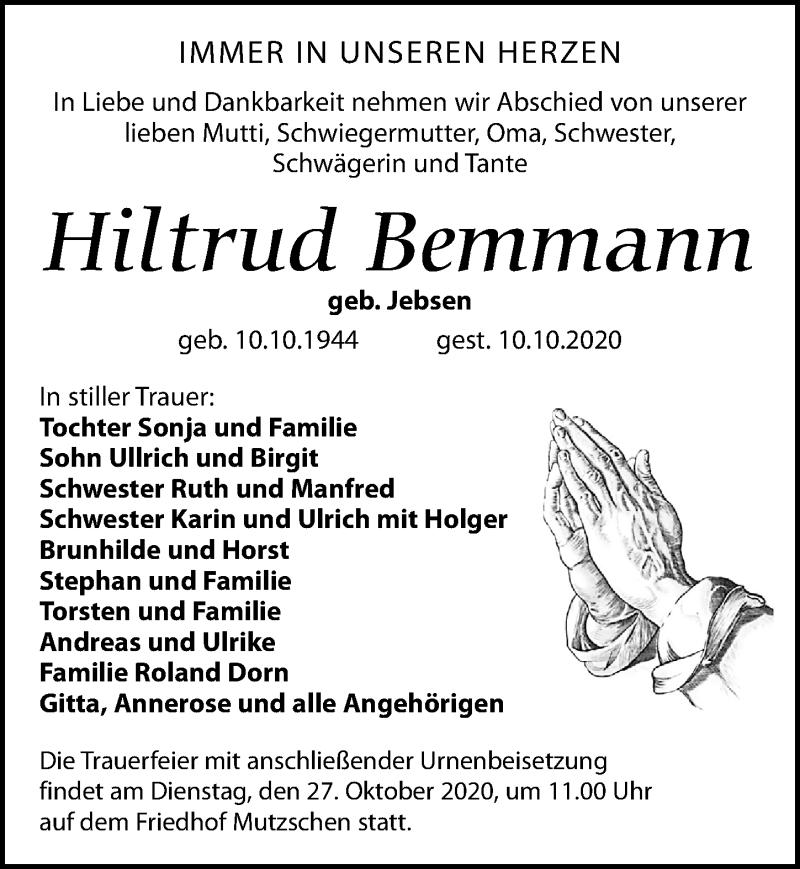 Traueranzeige für Hiltrud Bemmann vom 17.10.2020 aus Leipziger Volkszeitung