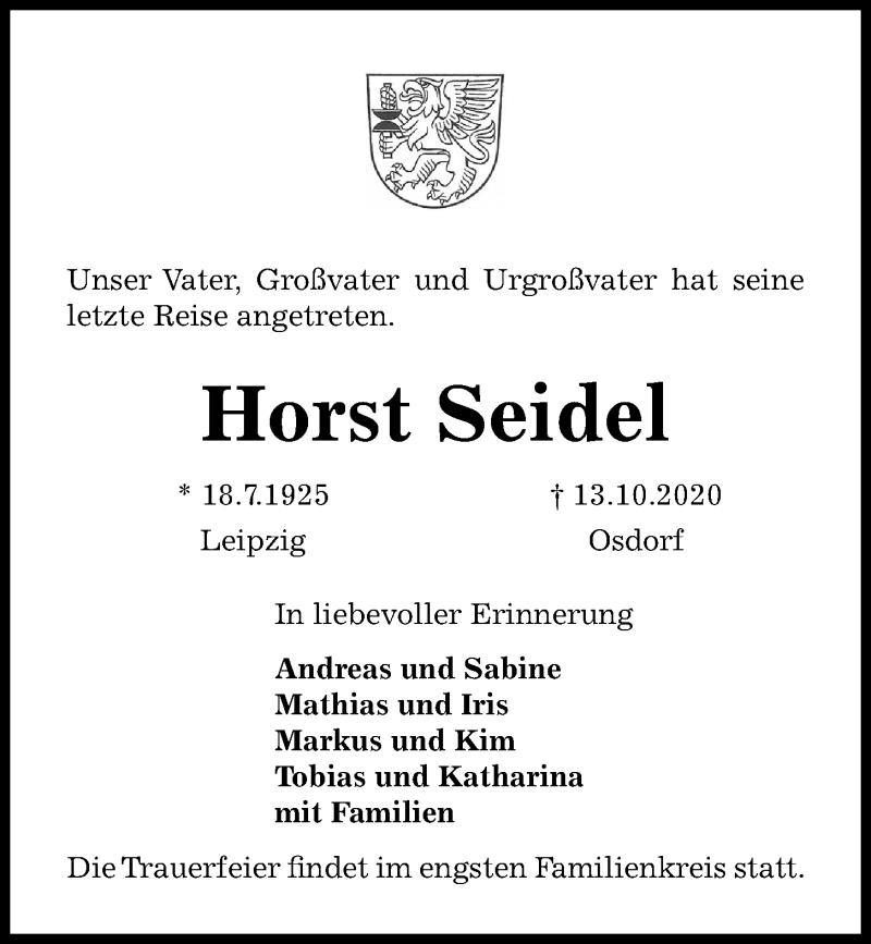 Traueranzeige für Horst Seidel vom 17.10.2020 aus Kieler Nachrichten
