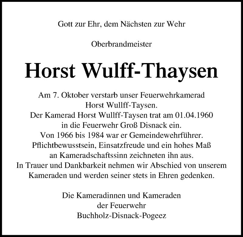 Traueranzeige für Horst Wulff-Thaysen vom 14.10.2020 aus Lübecker Nachrichten