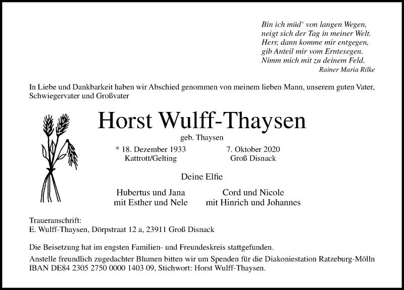 Traueranzeige für Horst Wulff-Thaysen vom 18.10.2020 aus Lübecker Nachrichten