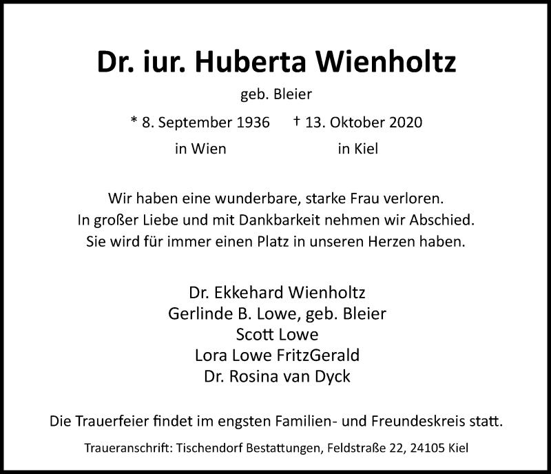 Traueranzeige für Huberta Wienholtz vom 17.10.2020 aus Kieler Nachrichten