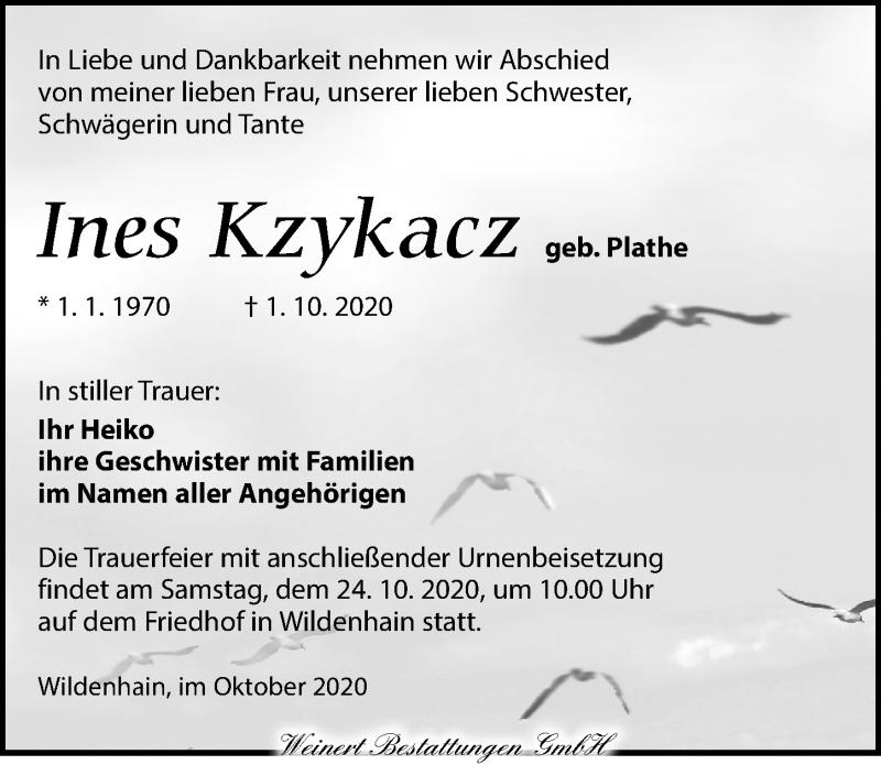 Traueranzeige für Ines Kzykacz vom 17.10.2020 aus Torgauer Zeitung