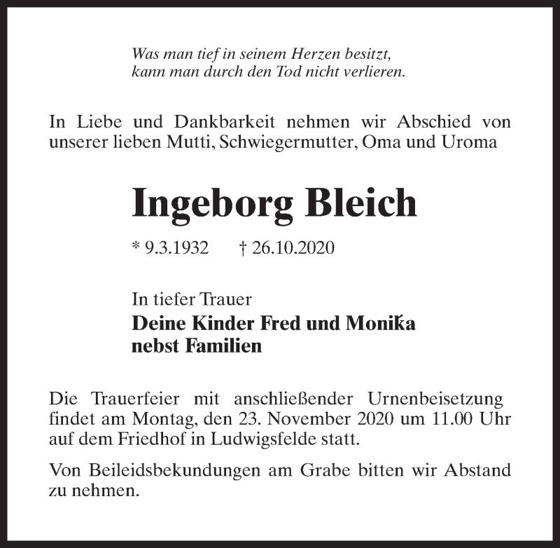 Traueranzeige für Ingeborg Bleich vom 30.10.2020 aus Märkischen Allgemeine Zeitung
