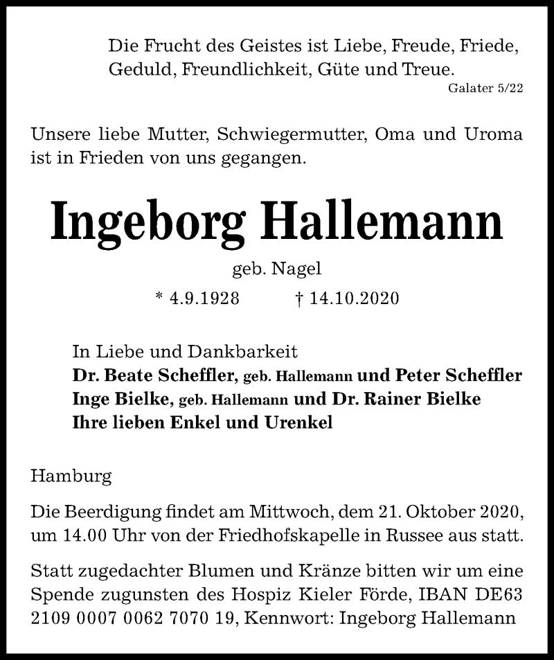 Traueranzeige für Ingeborg Hallemann vom 17.10.2020 aus Kieler Nachrichten