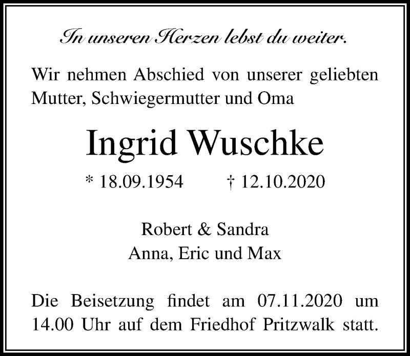 Traueranzeige für Ingrid Wuschke vom 24.10.2020 aus Märkischen Allgemeine Zeitung