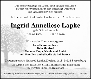 Ingrid Anneliese Lapke