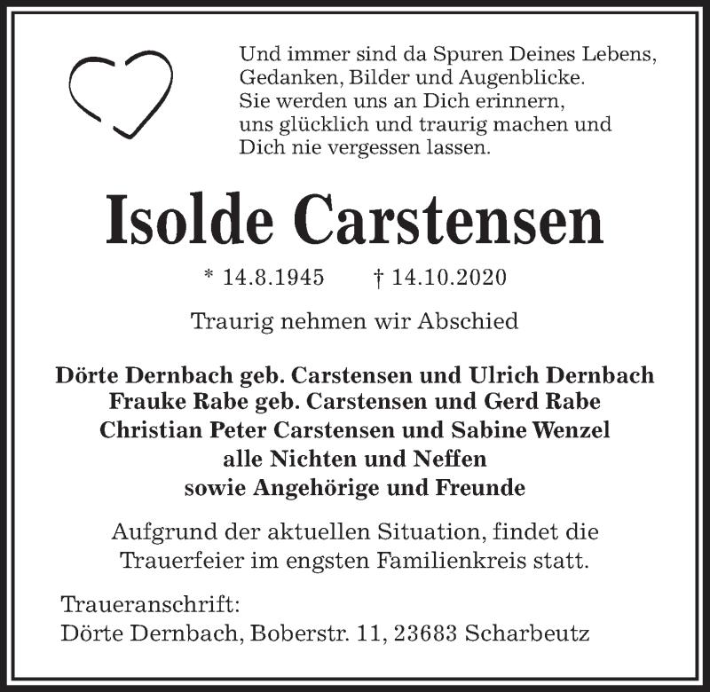 Traueranzeige für Isolde Carstensen vom 17.10.2020 aus Kieler Nachrichten