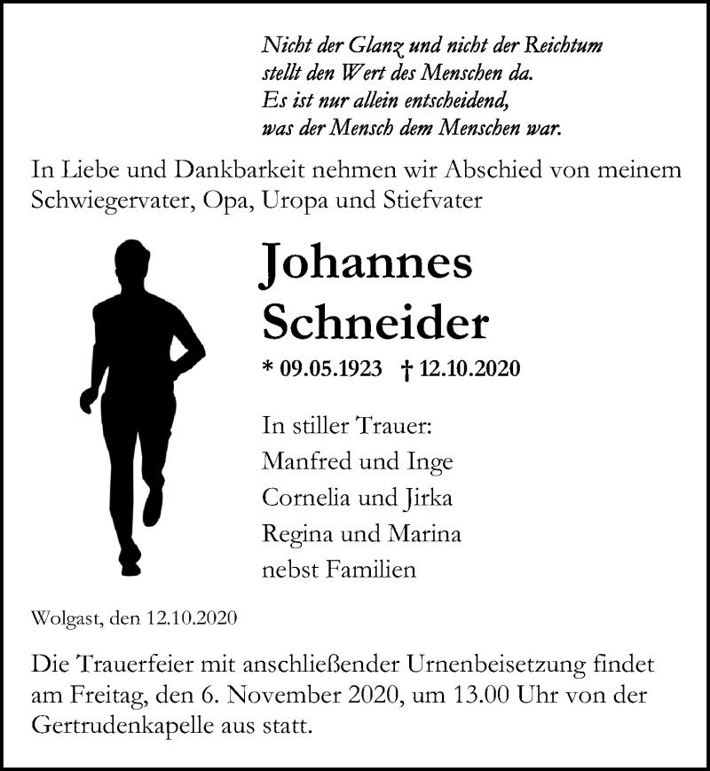 Traueranzeige für Johannes Schneider vom 17.10.2020 aus Ostsee-Zeitung GmbH