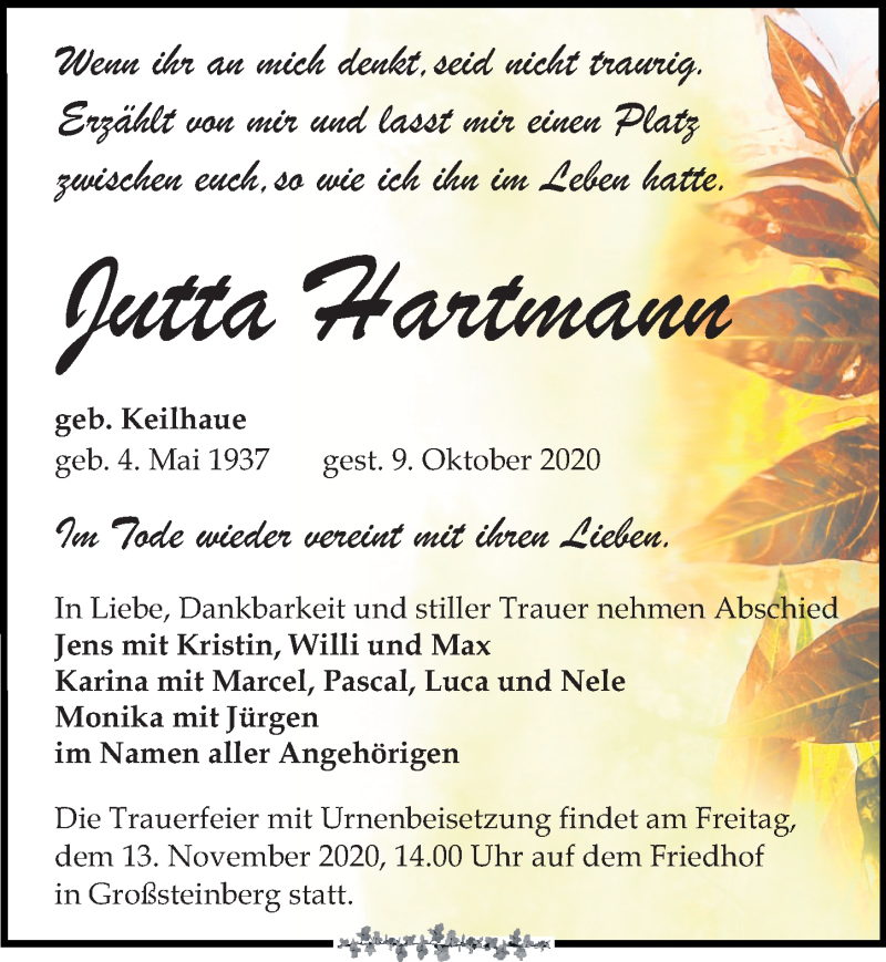Traueranzeige für Jutta Hartmann vom 17.10.2020 aus Leipziger Volkszeitung