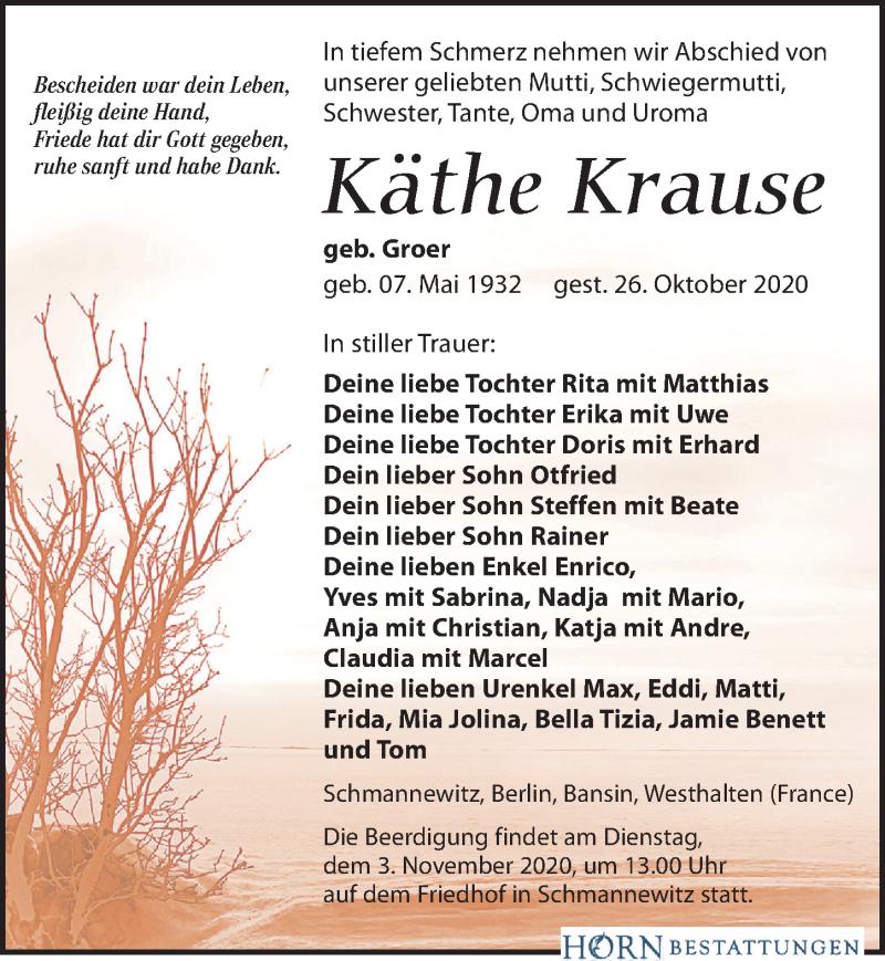 Traueranzeige für Käthe Krause vom 30.10.2020 aus Leipziger Volkszeitung