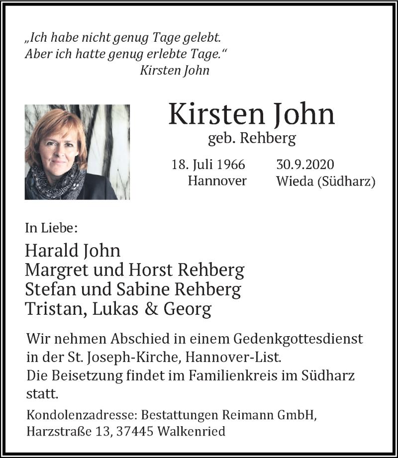Traueranzeige für Kirsten John vom 07.10.2020 aus Hannoversche Allgemeine Zeitung/Neue Presse