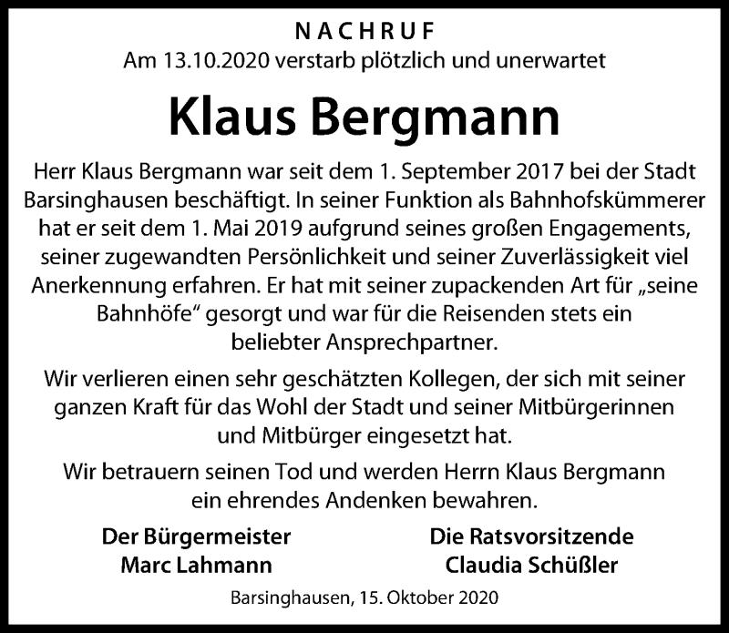 Traueranzeige für Klaus Bergmann vom 17.10.2020 aus Hannoversche Allgemeine Zeitung/Neue Presse