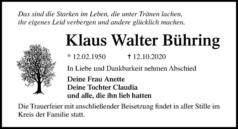 Traueranzeige für Klaus Walter Bühring vom 17.10.2020 aus Ostsee-Zeitung GmbH