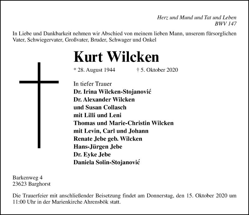 Traueranzeige für Kurt Wilcken vom 11.10.2020 aus Lübecker Nachrichten