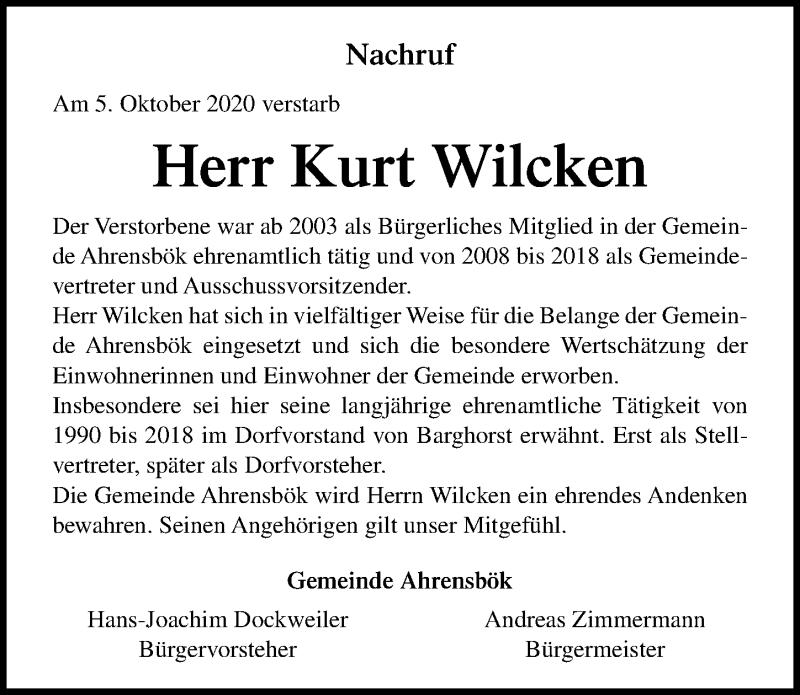 Traueranzeige für Kurt Wilcken vom 14.10.2020 aus Lübecker Nachrichten
