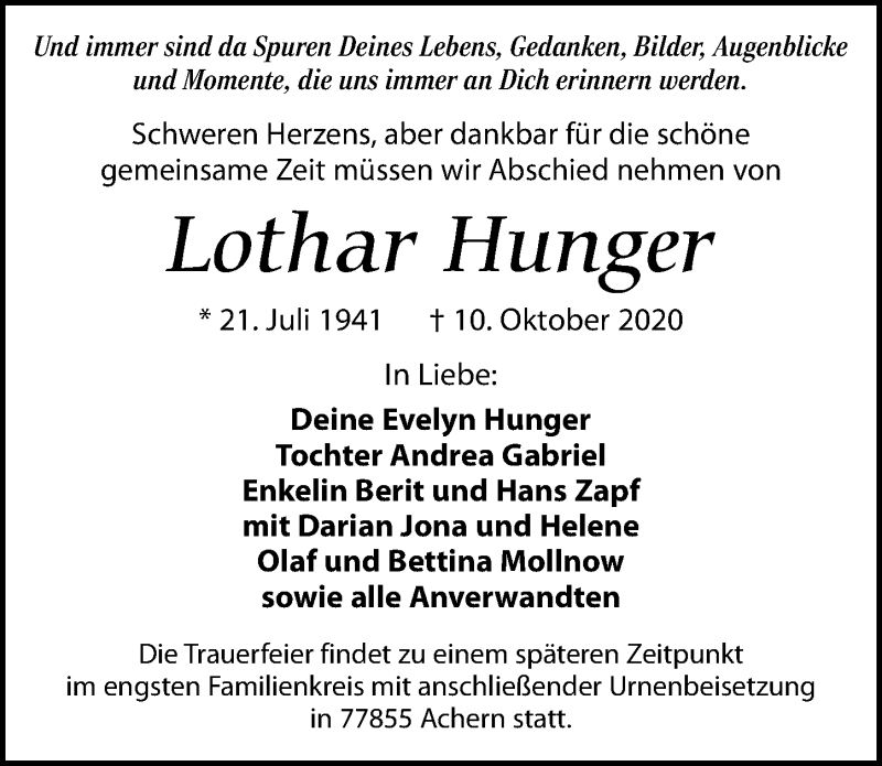 Traueranzeige für Lothar Hunger vom 17.10.2020 aus Leipziger Volkszeitung