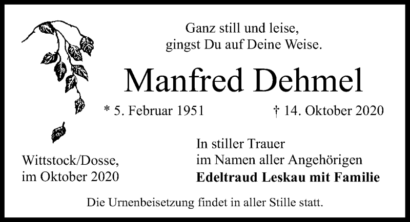 Traueranzeige für Manfred Dehmel vom 17.10.2020 aus Märkischen Allgemeine Zeitung