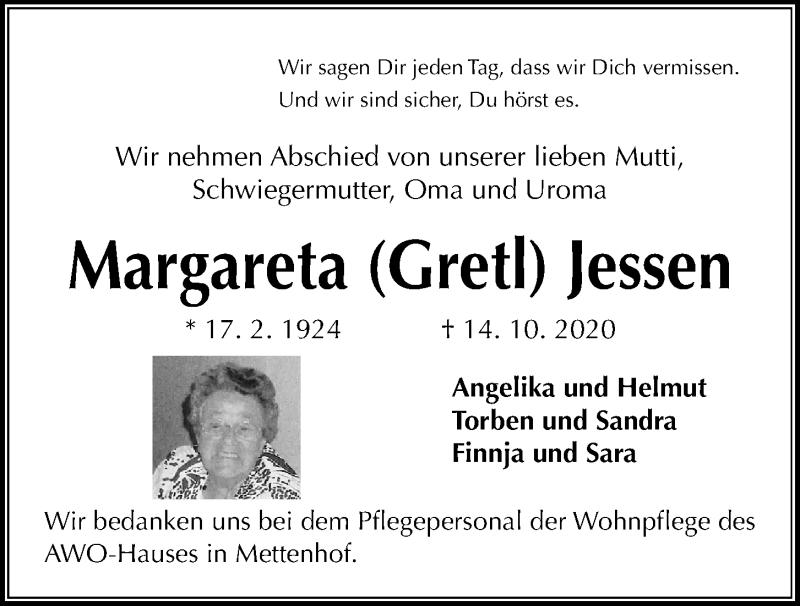 Traueranzeige für Margareta  Jessen vom 17.10.2020 aus Kieler Nachrichten