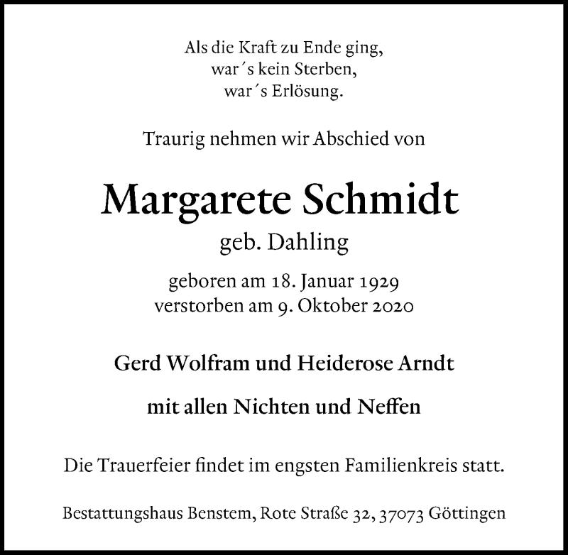 Traueranzeige für Margarete Schmidt vom 17.10.2020 aus Göttinger Tageblatt