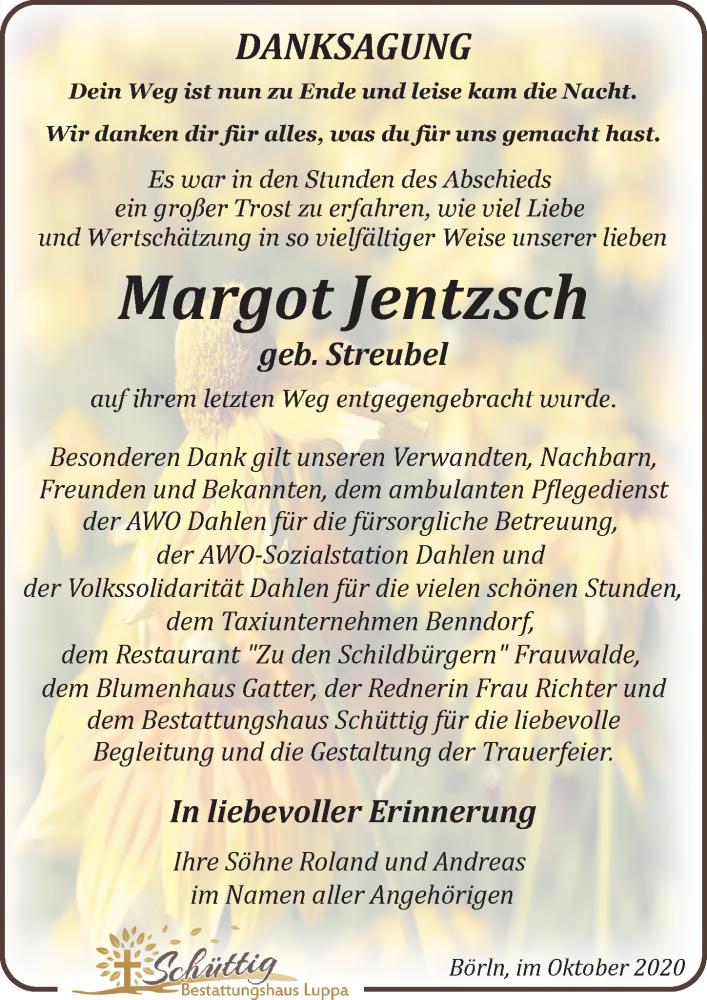 Traueranzeige für Margot Jentzsch vom 02.10.2020 aus Leipziger Volkszeitung