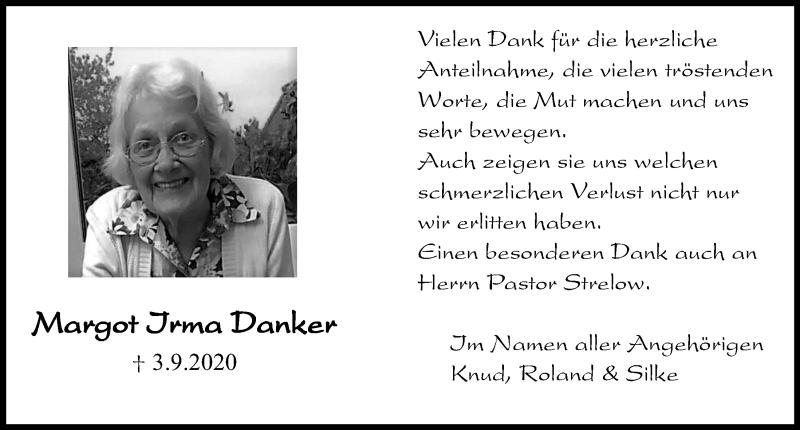 Traueranzeige für Margot Irma Danker vom 10.10.2020 aus Kieler Nachrichten