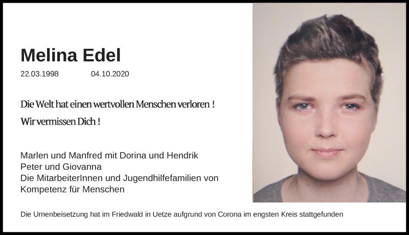Traueranzeige für Melina Edel vom 30.10.2020 aus Peiner Allgemeine Zeitung