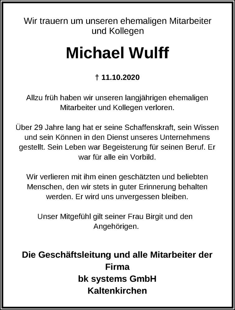 Traueranzeige für Michael Wulff vom 17.10.2020 aus Kieler Nachrichten