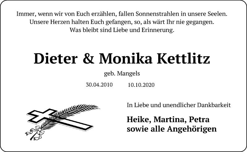 Traueranzeige für Monika Kettlitz vom 15.10.2020 aus Lübecker Nachrichten