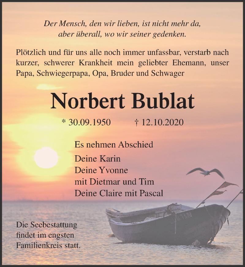 Traueranzeige für Norbert Bublat vom 17.10.2020 aus Ostsee-Zeitung GmbH