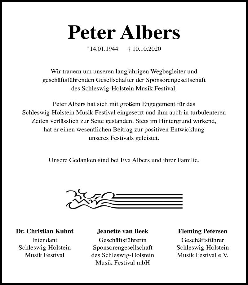 Traueranzeige für Peter Albers vom 17.10.2020 aus Kieler Nachrichten