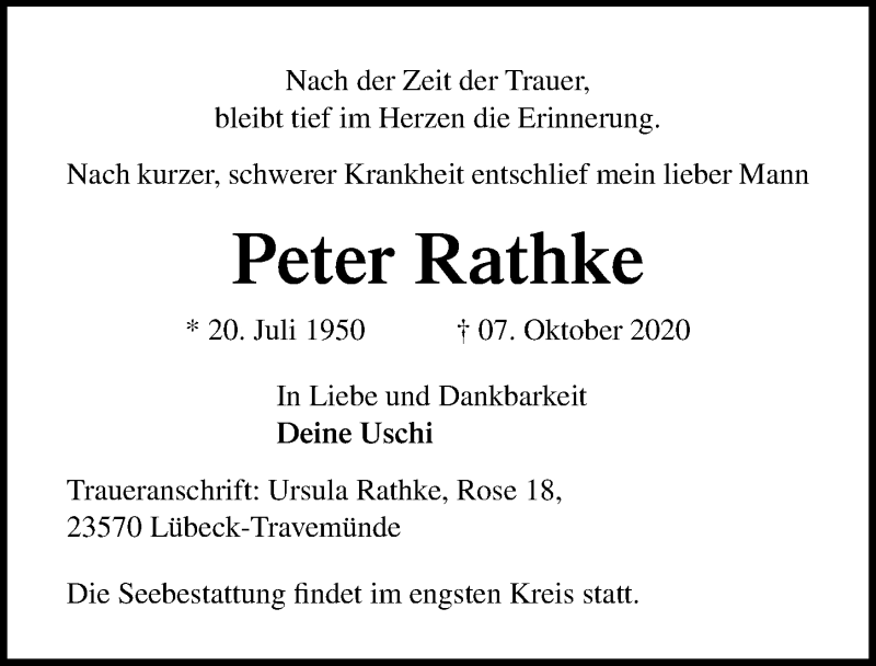 Traueranzeige für Peter Rathke vom 11.10.2020 aus Lübecker Nachrichten