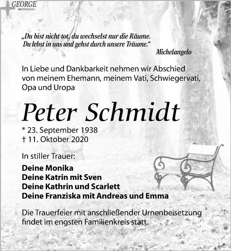 Traueranzeige für Peter Schmidt vom 17.10.2020 aus Leipziger Volkszeitung