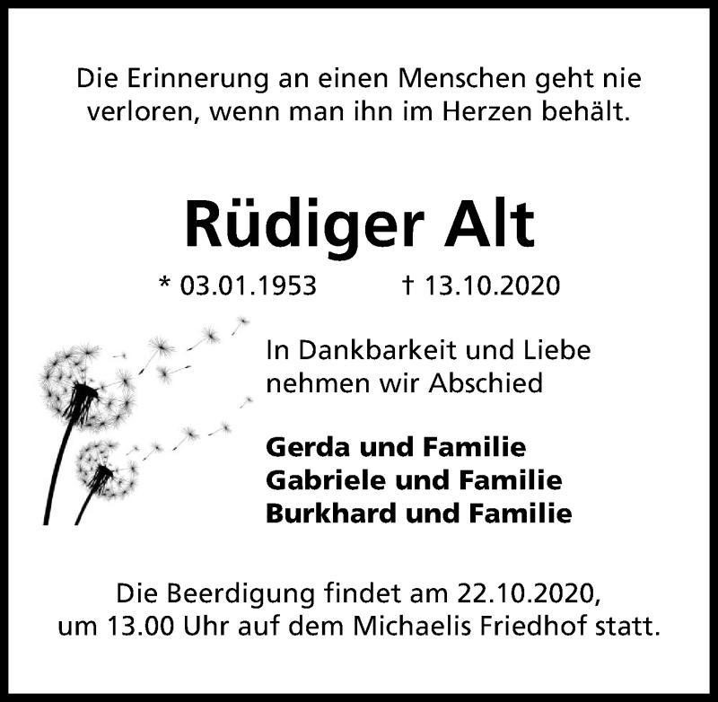 Traueranzeige für Rüdiger Alt vom 17.10.2020 aus Hannoversche Allgemeine Zeitung/Neue Presse